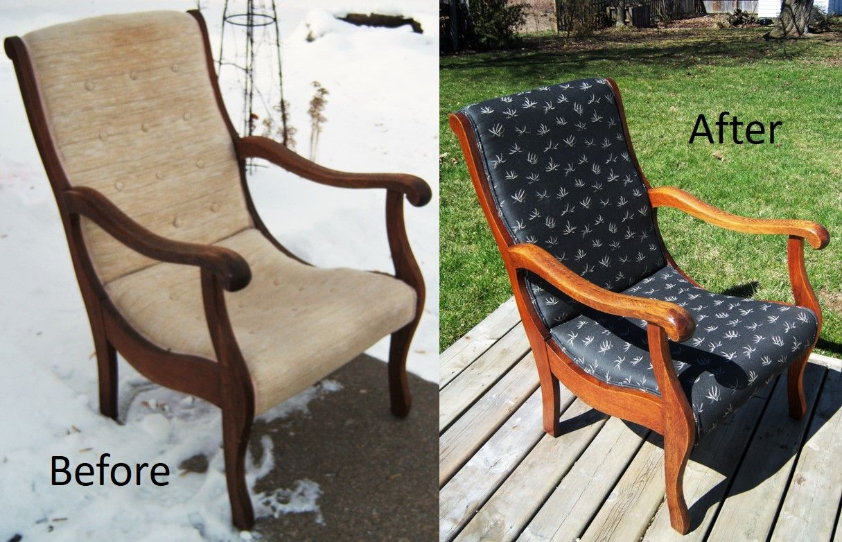 Re-oiled & re-upholstered 60' chair