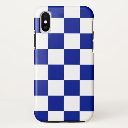 Bold Royal Blue and White Checkerboard Pattern iPhone X Case ...