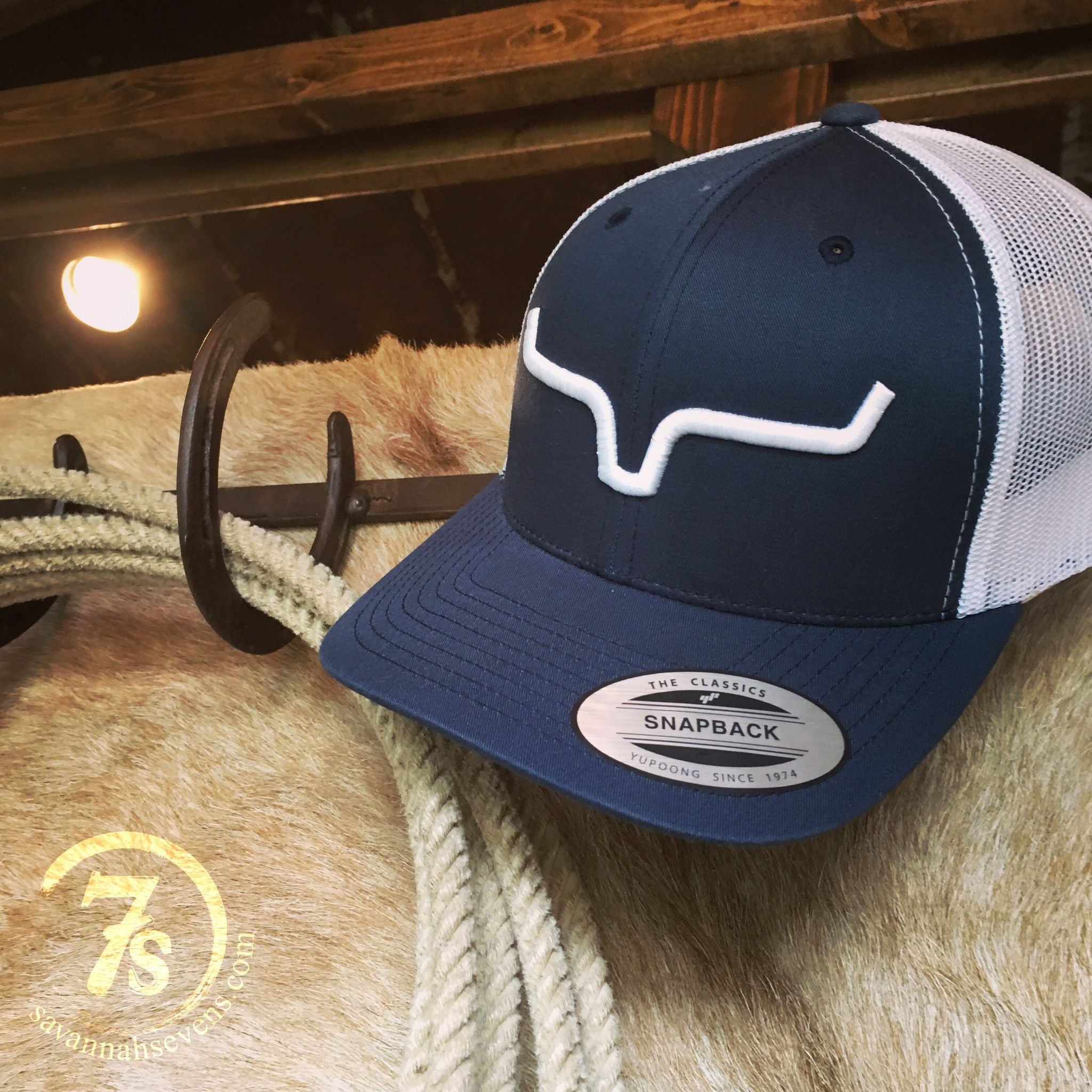 5c4b3846c Kimes Ranch cap - Navy and White - White 3-D embroidered Kimes horns logo -  Adjustable snap back - Mesh back - Flexible brim