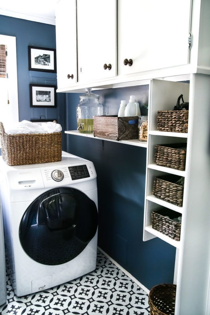 High Contrast Laundry Room Makeover   A dingy and dated laundry room gets a high contrast navy and white makeover packed with organizational strategies and budgetconsciou...