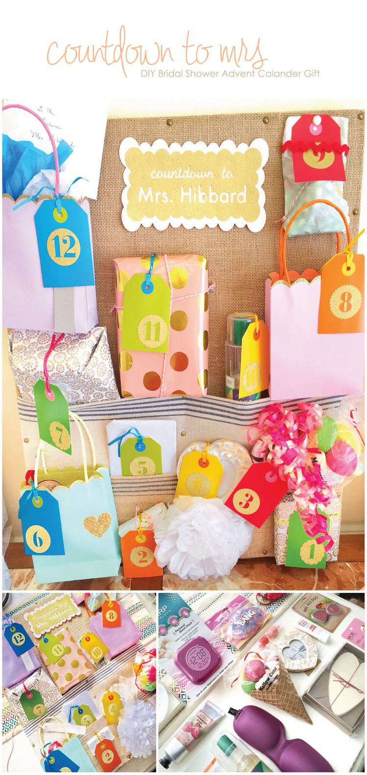 Advent Calendar Ideas Wedding : Diy bridal shower advent calendar gift fun ideas