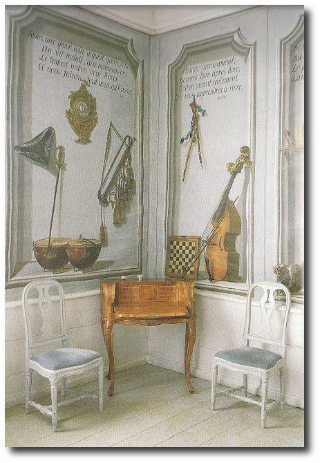 The Swedish Room Music Wall Trompe L Oeil Decoration Plafond Decoration Suedoise Peindre Mur