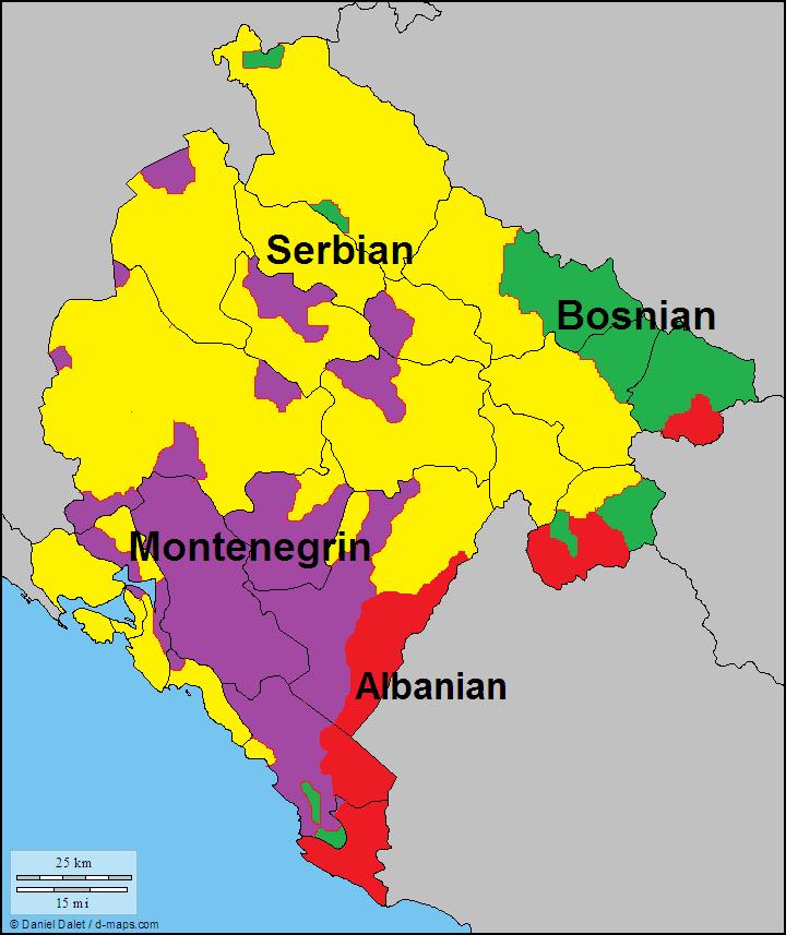Montenegro On Europe Map.Languages In Montenegro The Balkans Map Historical Maps Language