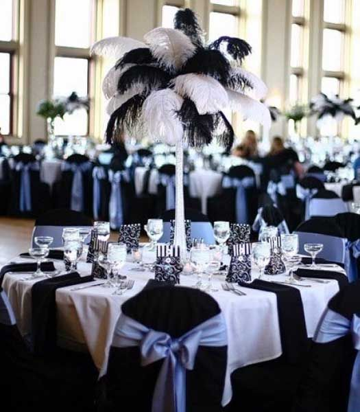 This Black And White Ostrich Plume Centerpiece Is Gorgeous Would Look Great With The Tiffany