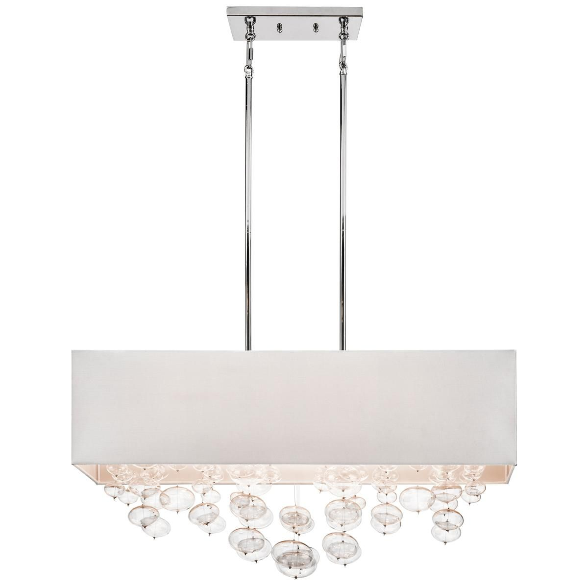 Rectangle shade and glass bubbles island chandelier my favorite halogen contemporary rectangular pendant in chrome finish with white linenbubbles shade from the piatt collection by elan lighting 83248 audiocablefo