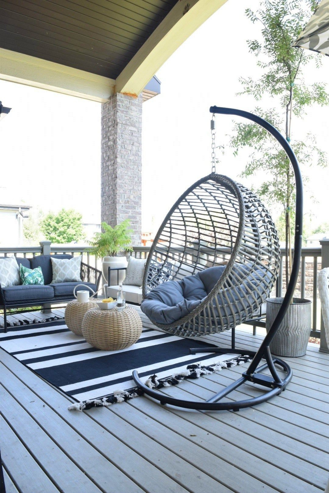 Outdoor Patio and Living Space with Hanging Chair Patio