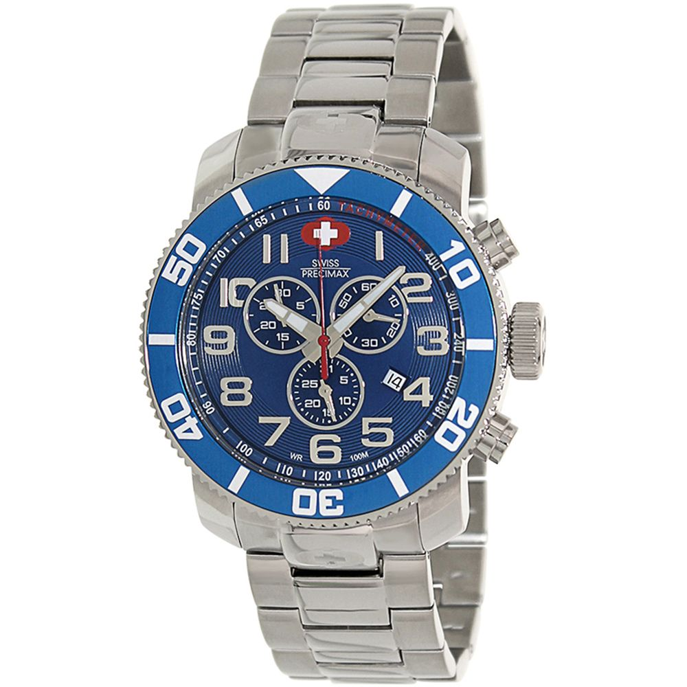 Swiss Precimax Men S Verto Pro Blue Dial Silver Stainless Steel Band Swiss Chronograph Watch Con Imagenes