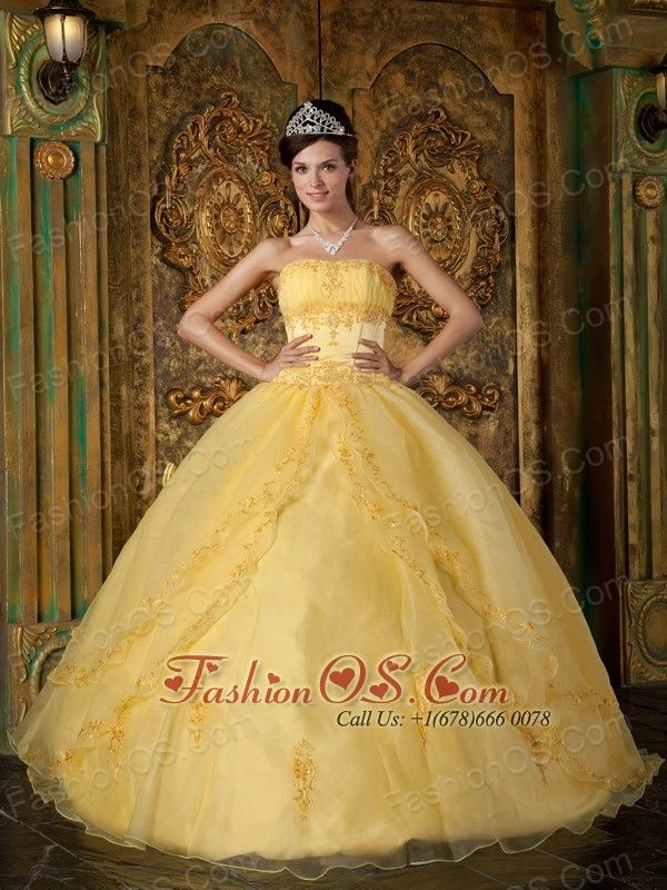 Gorgeous Yellow Quinceanera Dress Strapless Appliques Organza Ball ...