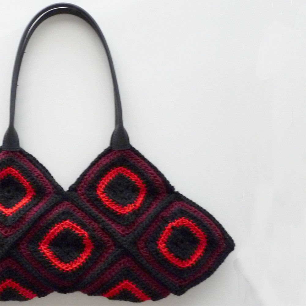 Crocheted granny square bag | Crochet and technique | Pinterest | Malos