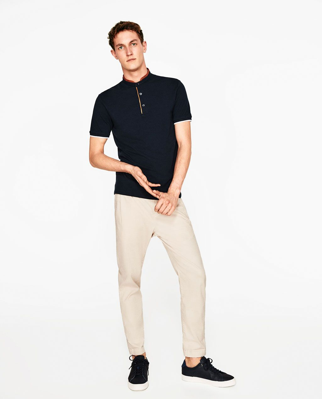 Image 1 of POLO SHIRT WITH FAUX SUEDE COLLAR from Zara