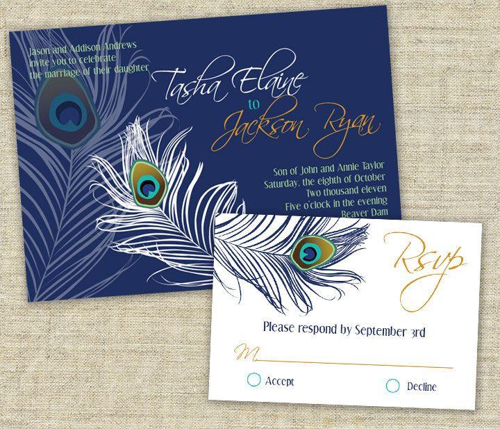 Peacock Wedding Ideas Etsy: Peacock Wedding Invitation Sample Set. $3.50, Via Etsy