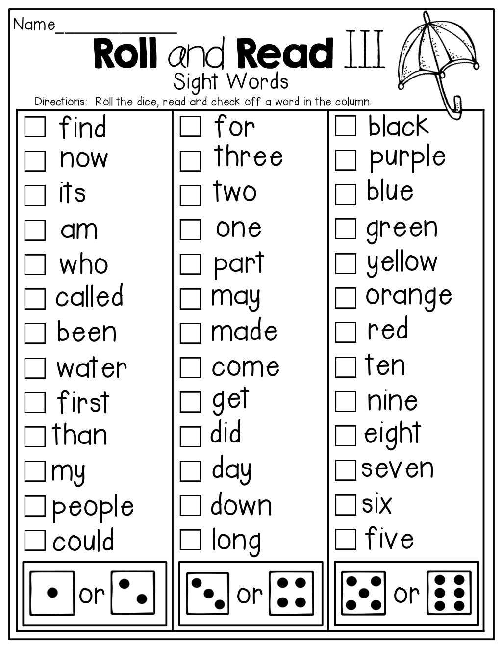 Roll And Read A Sight Word