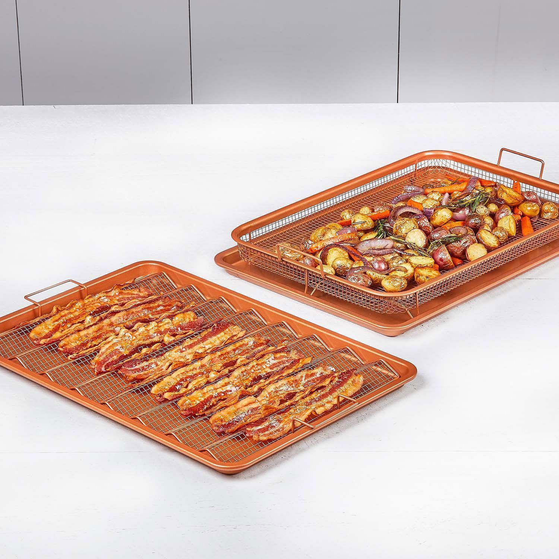 Copper Chef Pro Xl Bacon Crisper 4 Piece Set Oven Air Fryer Pan No Sales Tax Bacon Crisps Copper Crisper Recipe Copper Chef