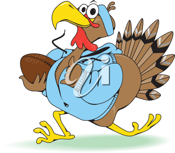 Thanksgiving football turkey. A vector illustration of a turkey celebrating  thanksgiving by playing football!