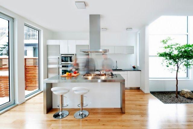 Küche Mit Kochinsel Deko Baum Kies Innen Edelstahl Weiss
