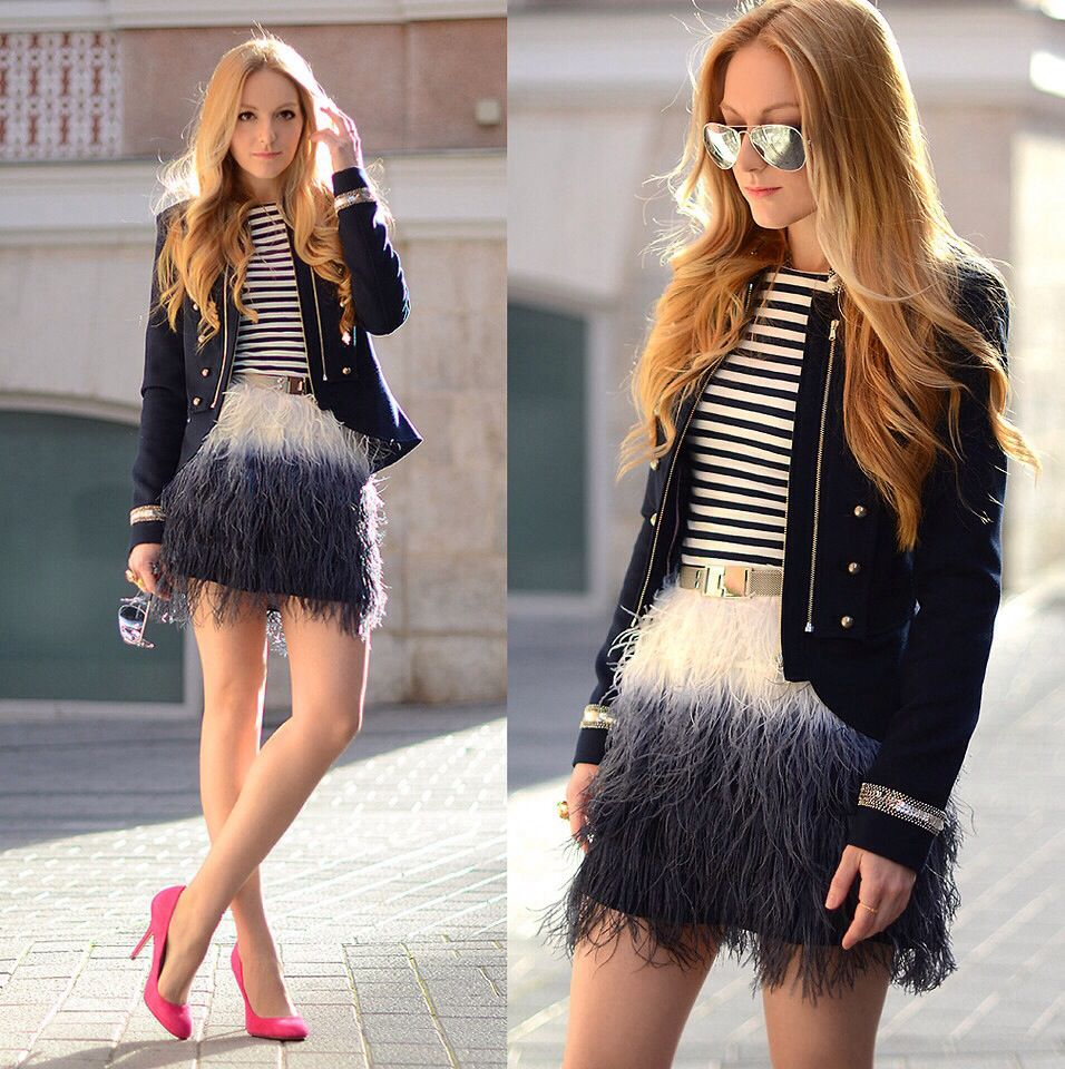 Ombre fringe skirt w hot pink pumps. Perfect combination