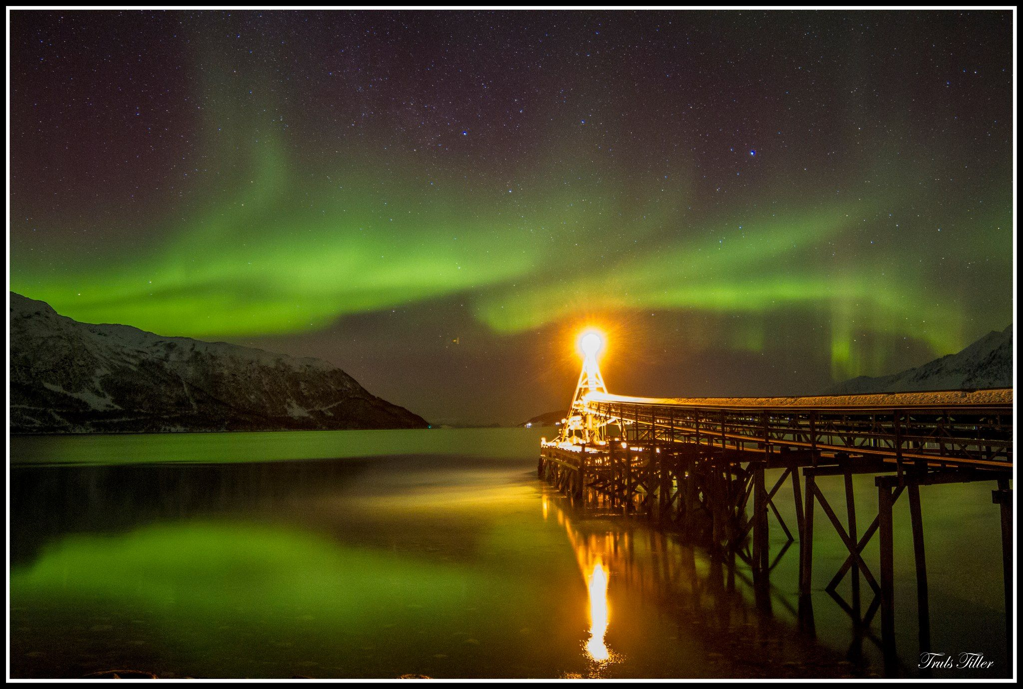 Aurora over Ullsfjorden, outside Tromsø, Norway