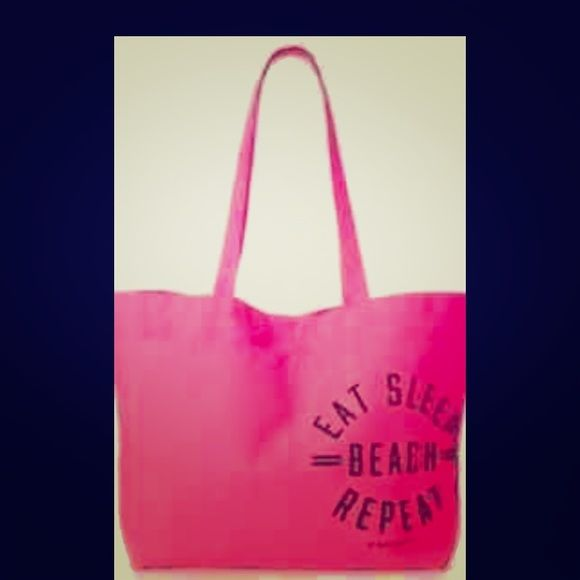 """NWT PINK Beach Tote Brand new in packaging """"Eat. Sleep. Beach. Repeat."""" VS pink tote! Perfect for a summer day @the beach PINK Victoria's Secret Bags Totes"""