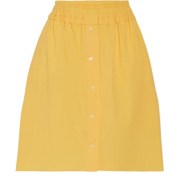 Carven - Cotton-blend Seersucker Skirt (3.525 ARS) ❤ liked on Polyvore featuring skirts, yellow, elastic waist skirt, button front skirt, gathered skirt, pull on skirts and carven skirt