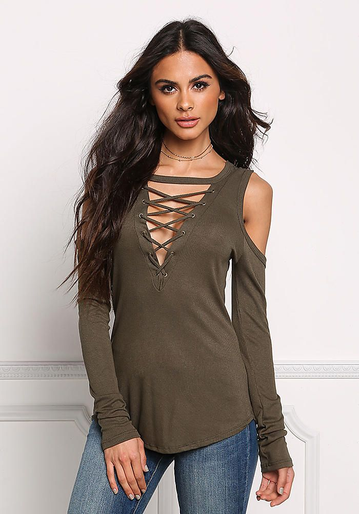 c107f3e1672eeb Olive Lace Up Cold Shoulder Top   dam   Junior outfits, Sophia ...