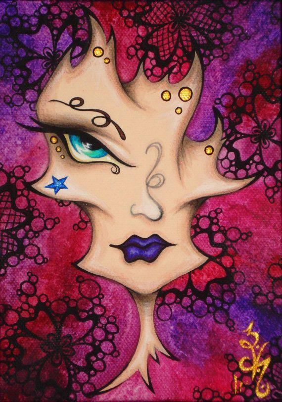 8 x 10 imprimer Fantasy ventru dentelle Gypsy surréaliste surréalisme Pop Lowbrow visage Carnaval masque Reproduction Natalie VonRaven