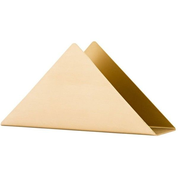 Ferm Living Brass Triangle Stand Natural By ($54) ❤ liked on Polyvore featuring home, home decor, office accessories, office supplies and ferm living