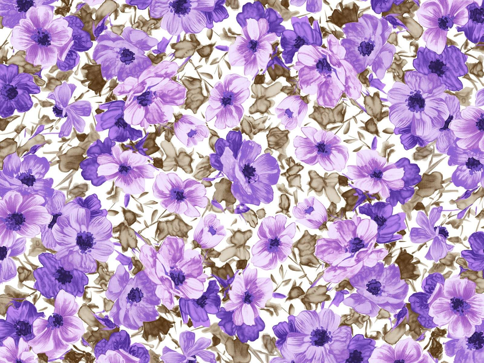 Purple And Blue Flowers Watercolor With Brown Grey Accents