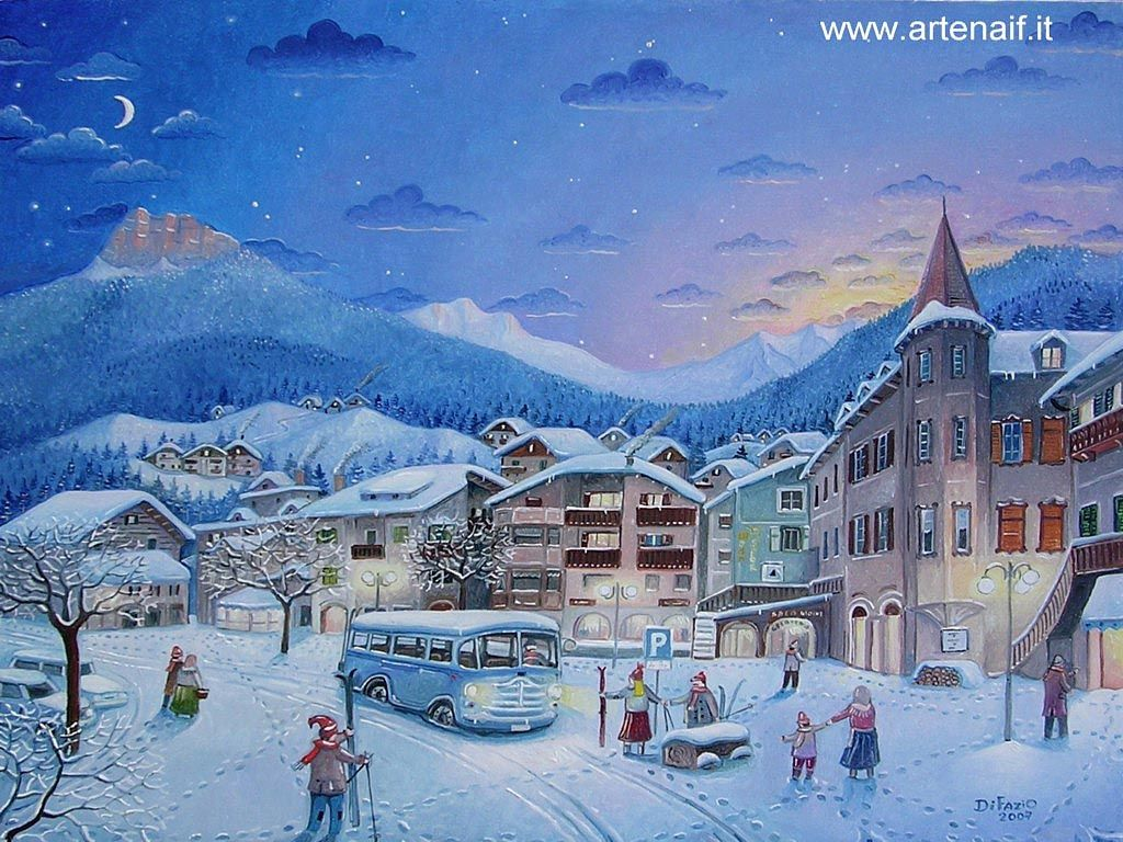 Naive art christmas 2008 painting art illustration for Sfondi naif