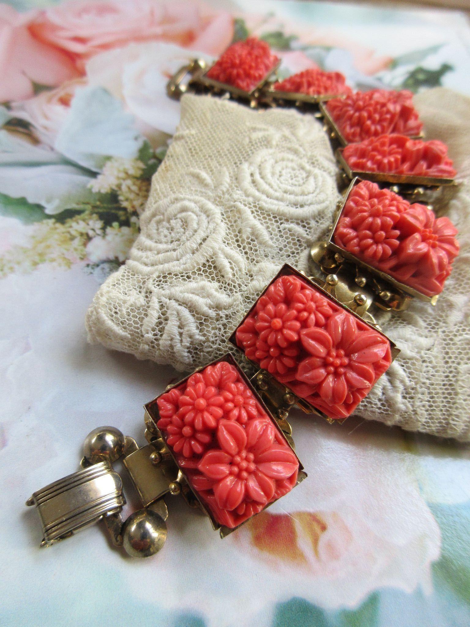 Vintage Molded Faux Coral Glass Flowers Bracelet   Pinterest ...