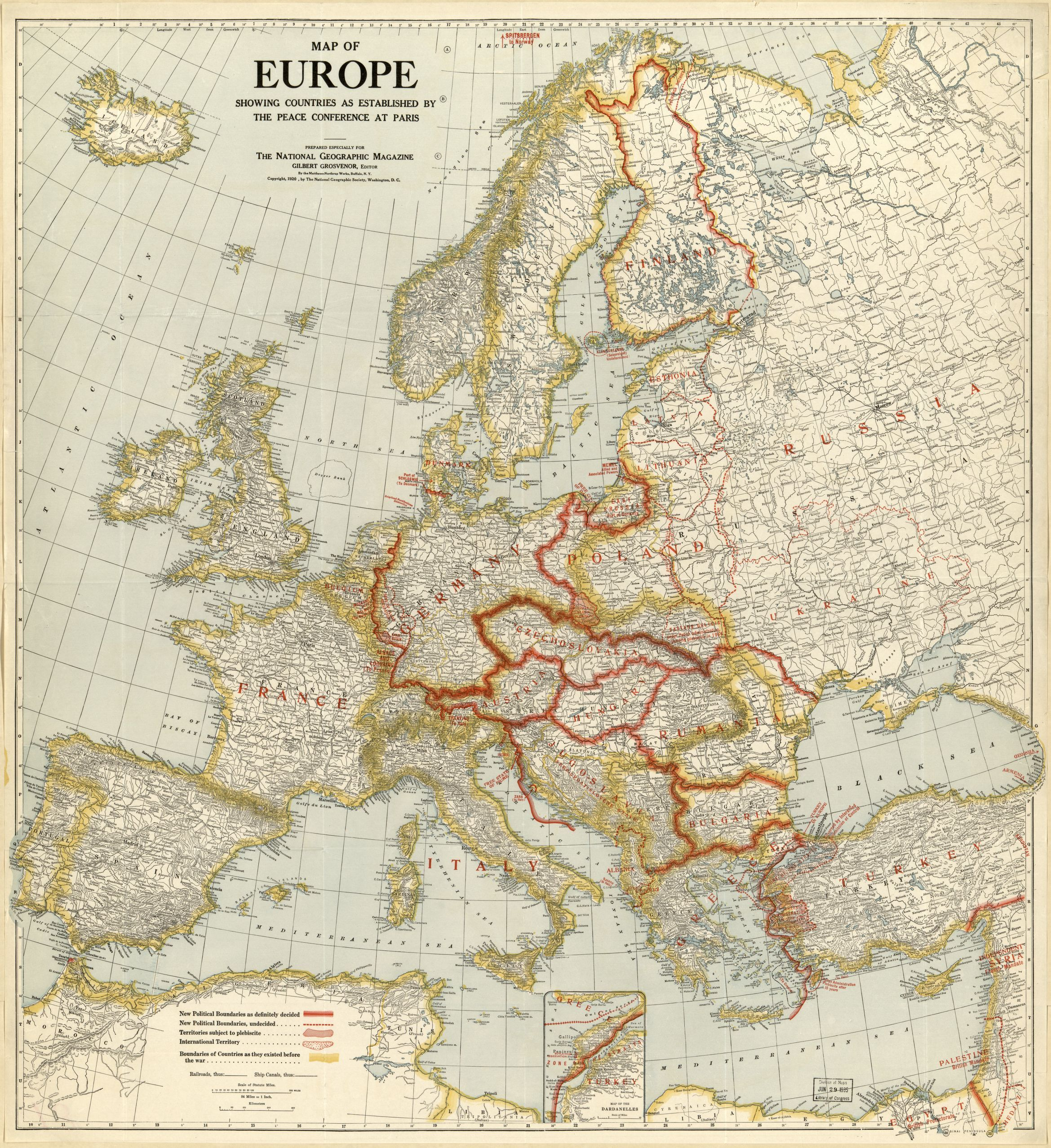 National Geographic 1920 Europe After Ww1 Map Europe Ww1