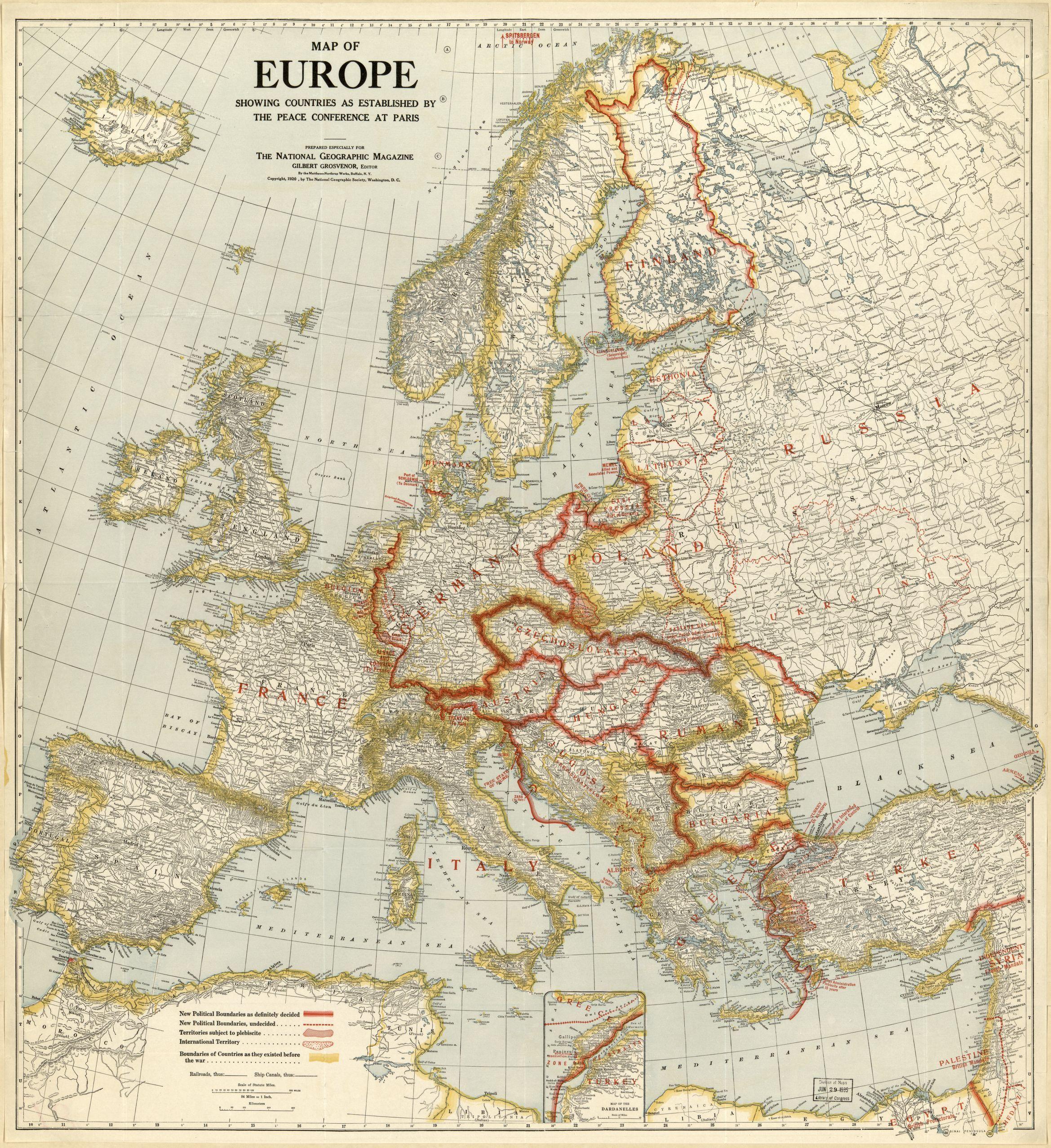 1920 Europe Map
