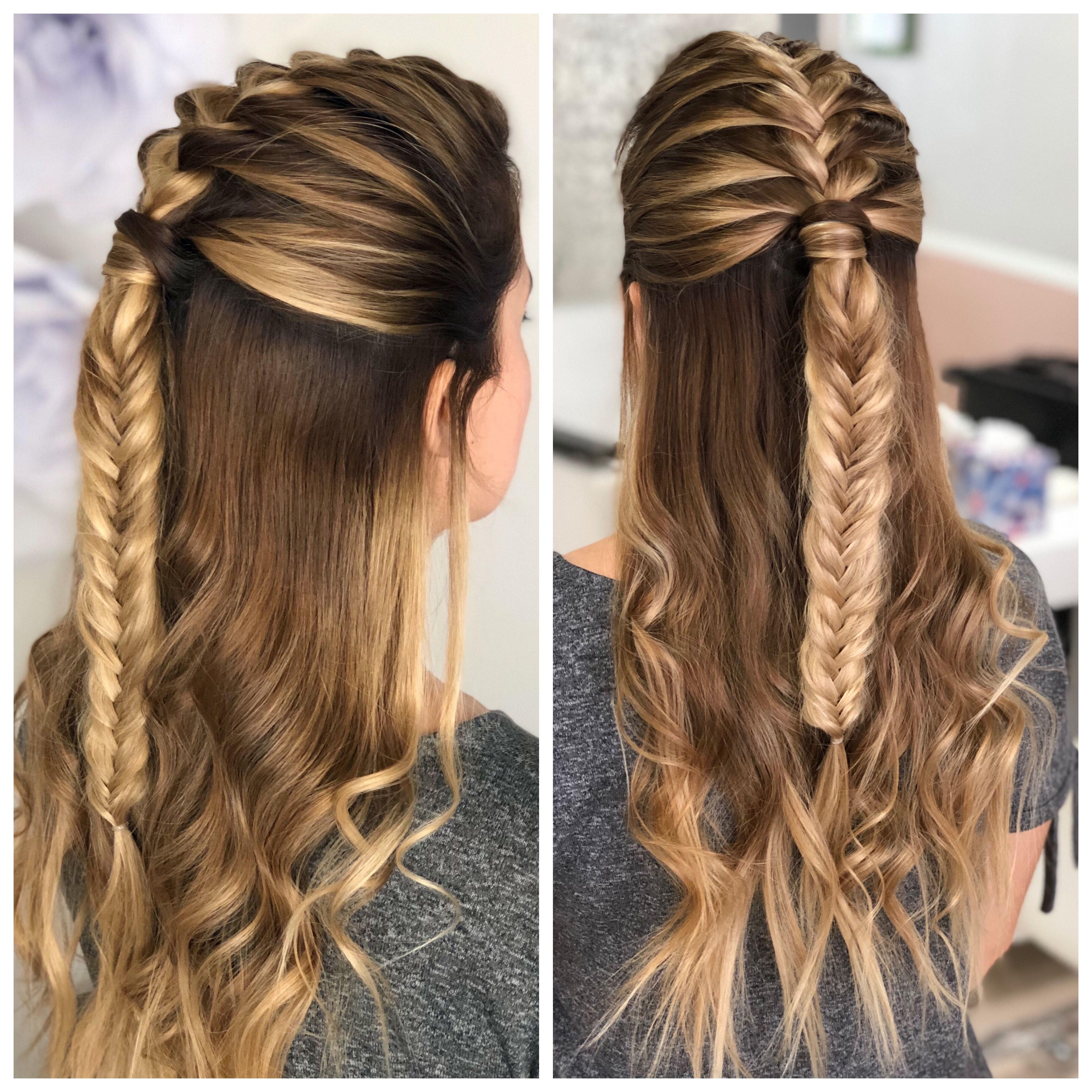 half up hairstyle with french braid and fishtail braid on