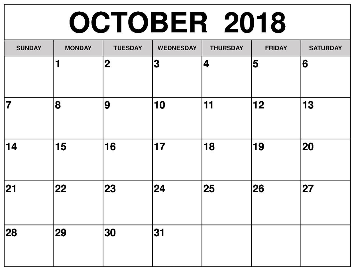 October 2018 Calendar Page Word Excel Pdf Printable Template