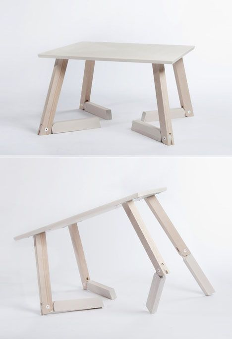 Small Space Solution Caroline Olsson S Adjustable Bambi Table Adjustable Bambi Caroline Olsso Tisch Hohenverstellbar Mobel Zum Selbermachen Mobel Holz