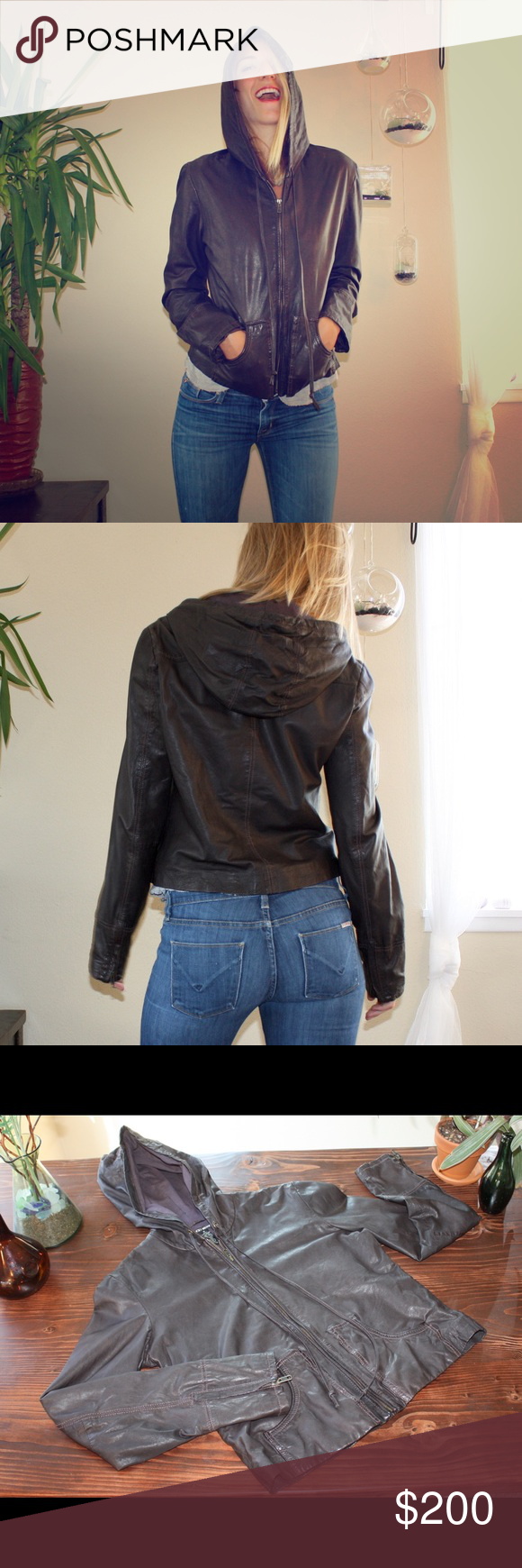 Lucky Brand 100% Genuine Leather Jacket Beautiful, very lightly worn brown leather jacket with hood. In same condition as when bought new! Simple and timeless design with zipper detailing on cuffs and leather drawstrings. Lucky Brand Jackets & Coats