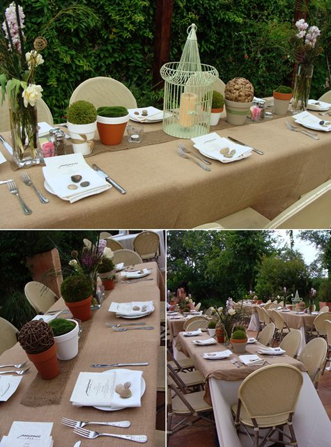 Bottom Right  Burlap Runner On White Tablecloth With White Napkins