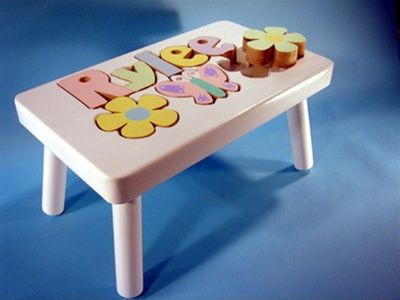 Butterfly Wooden Name Stool Personalized Puzzle Step