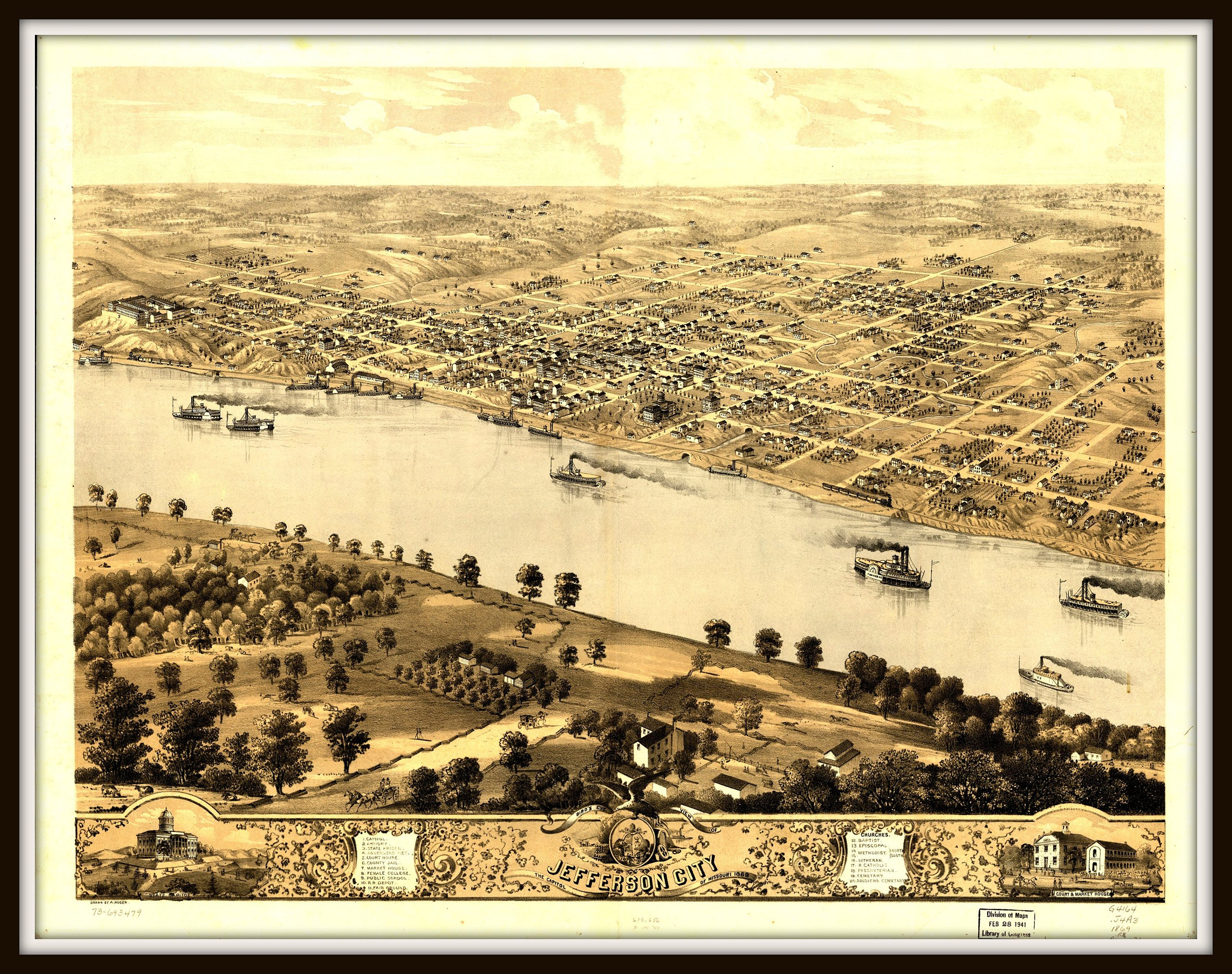 Jefferson City MO Panoramic Map dated 1869. Map decor, Vintage ...