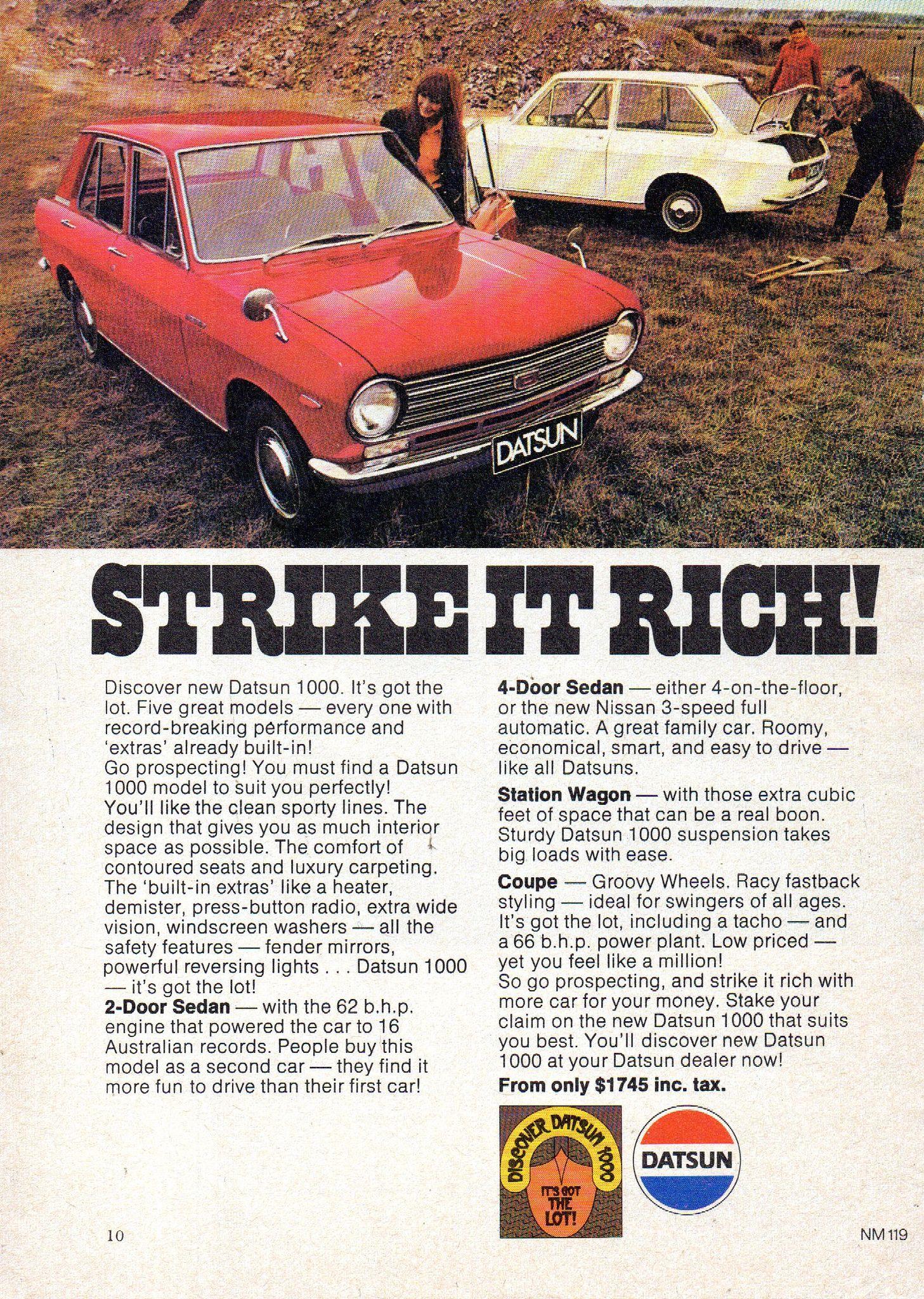 1970 Datsun 1000 Sedan & 2 Door Nissan Aussie Original