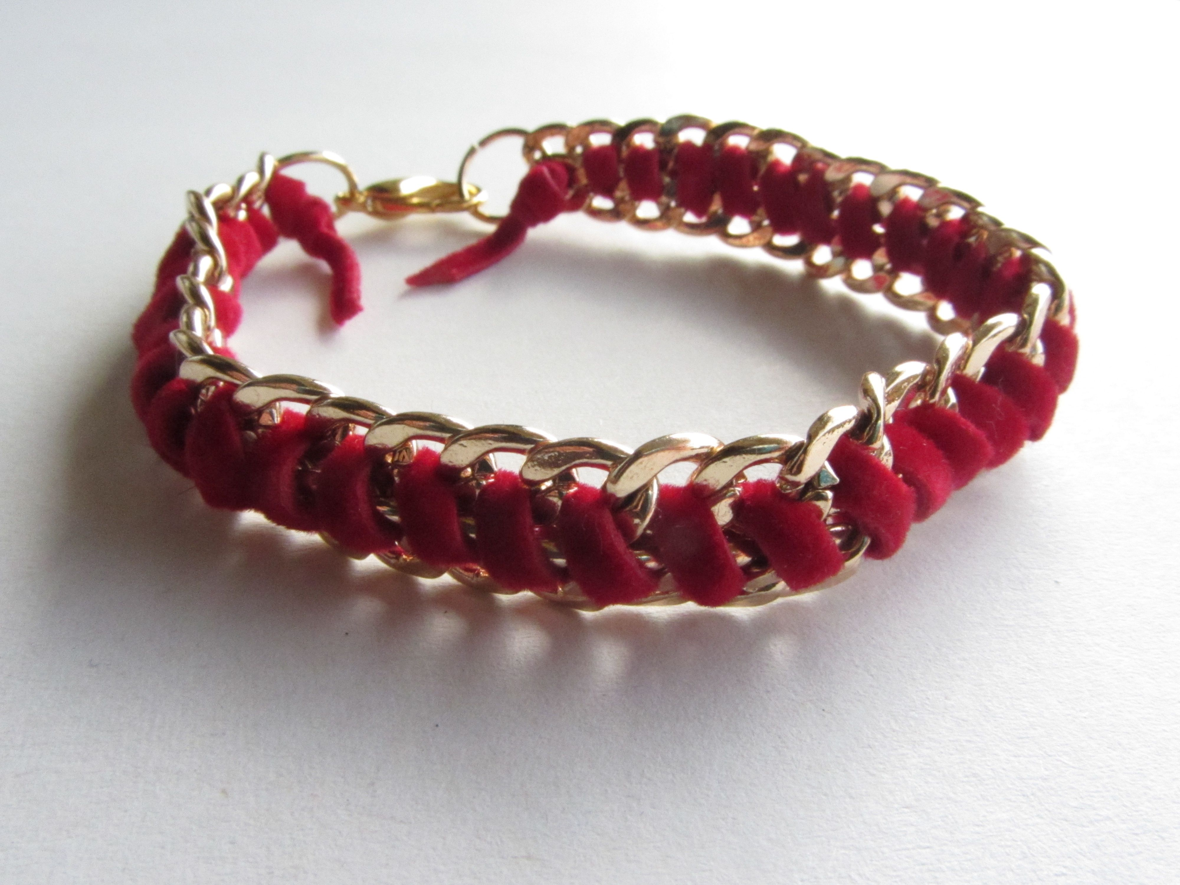 double gold chain red bracelet floolyus