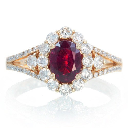 Exceptional 18K Ruby Engagement Ring Set In Rose Gold Ruby Halo Diamond Split Shank  Solitaire Engagement Wedding