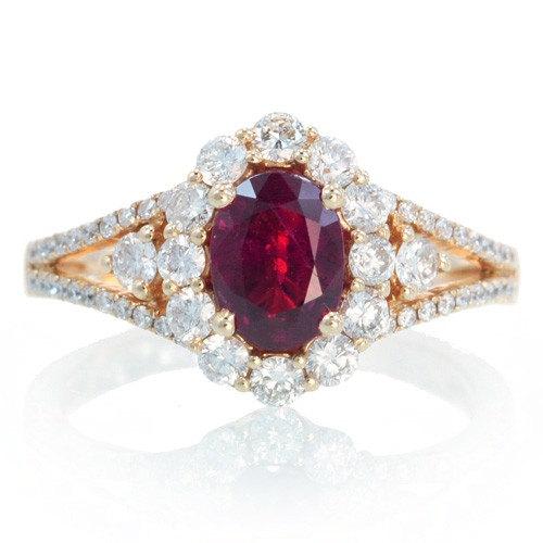 18k Ruby Engagement Ring Set In Rose Gold Ruby Halo Diamond Split
