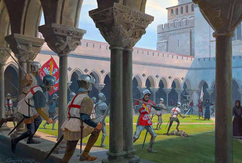 Anglo-Gascon vanguard surprises the French garrison of archers in the Priory of Saint-Florent, dawn, 17 July 1453
