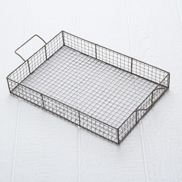 White Decorative Tray Anne Wire Serving Tray  A Rustic Wire Serving Tray Which Has A