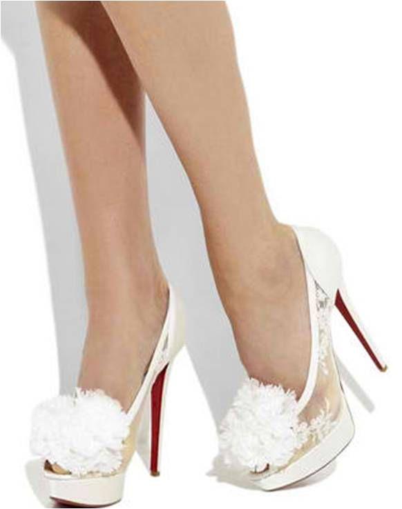 Christian Louboutin Tsar High Heel Satin Bridal Designer Shoes