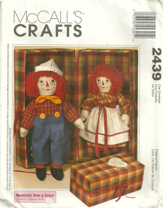 McCalls 2439 Collectors Series Raggedy Ann and Andy Dolls with ...