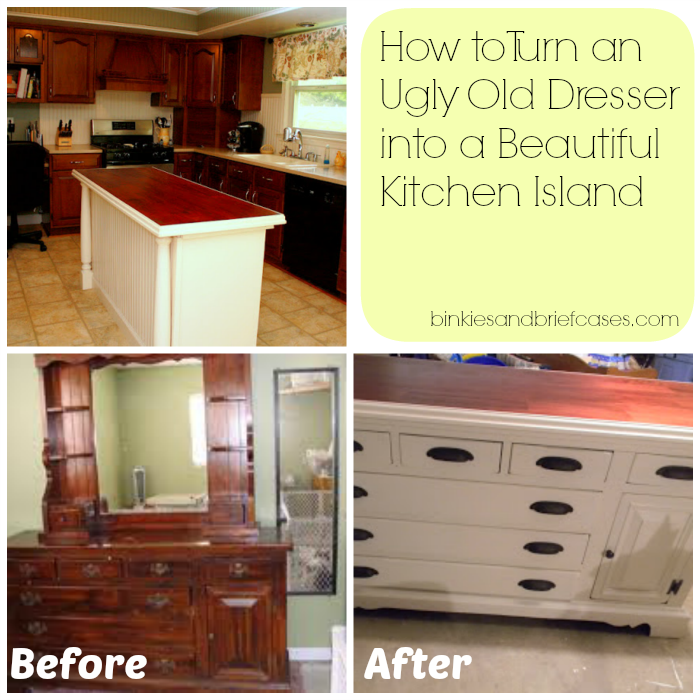How To Turn An Ugly Old Dresser Into A Beautiful Kitchen Island