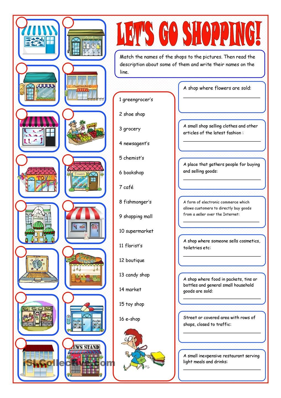 Shopping Reading Matching Teacher Websites Vocabulary Exercises Kids Math Worksheets