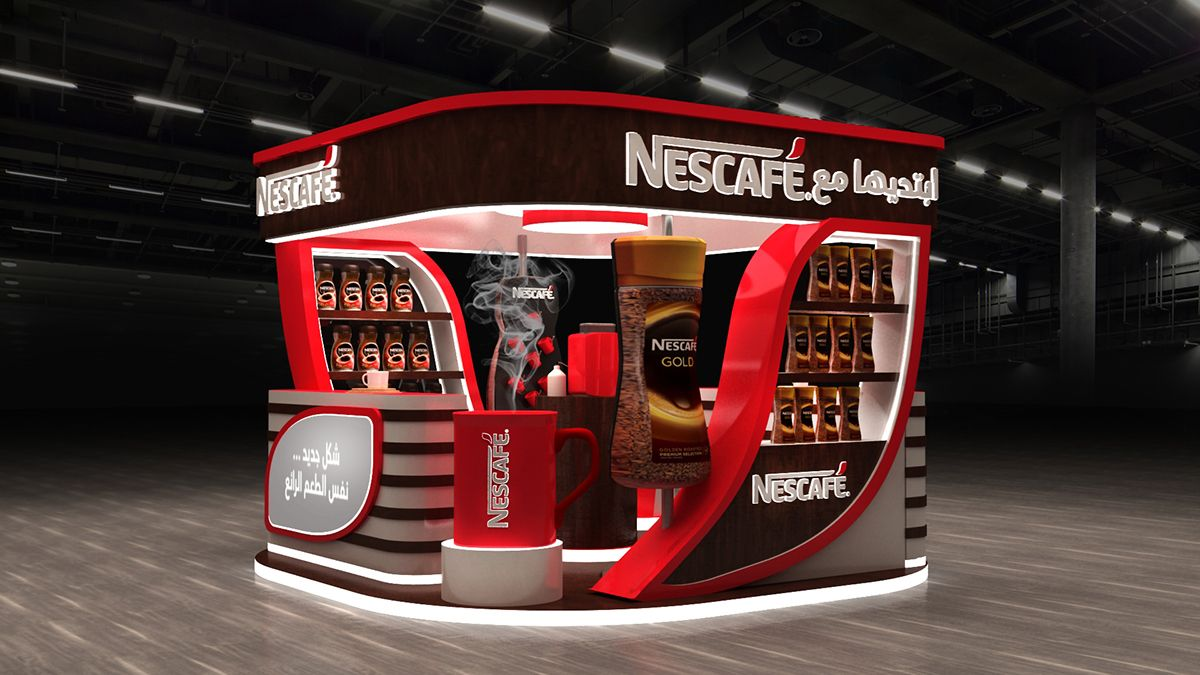 Nescafeَ Booth On Behance Display Showroom Pos