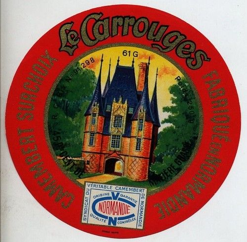 ORIGINAL FRENCH CHEESE LABEL - CAMEMBERT LE CARROUGES - CASTLE - 1950/60s